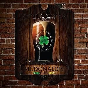 HomeWetBar Failte Irish Pub Personalized Wooden Sign (Custom Product)