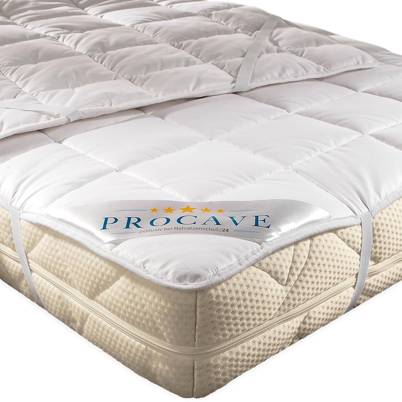 PROCAVE weiches Unterbett aus 100% Baumwolle, atmungsaktiver Matratzen-Schoner, hochwertige Matratzentopper, Matratzen-Auflage 200x190 cm