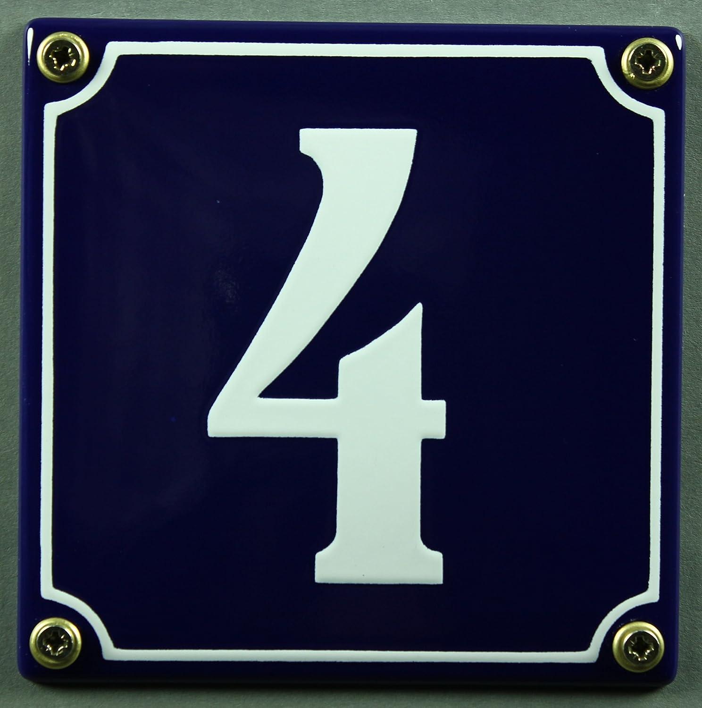 Wetterfestes Emaille Hausnummernschild Nr wei/ß 12x12 cm sofort lieferbar! 4 blau