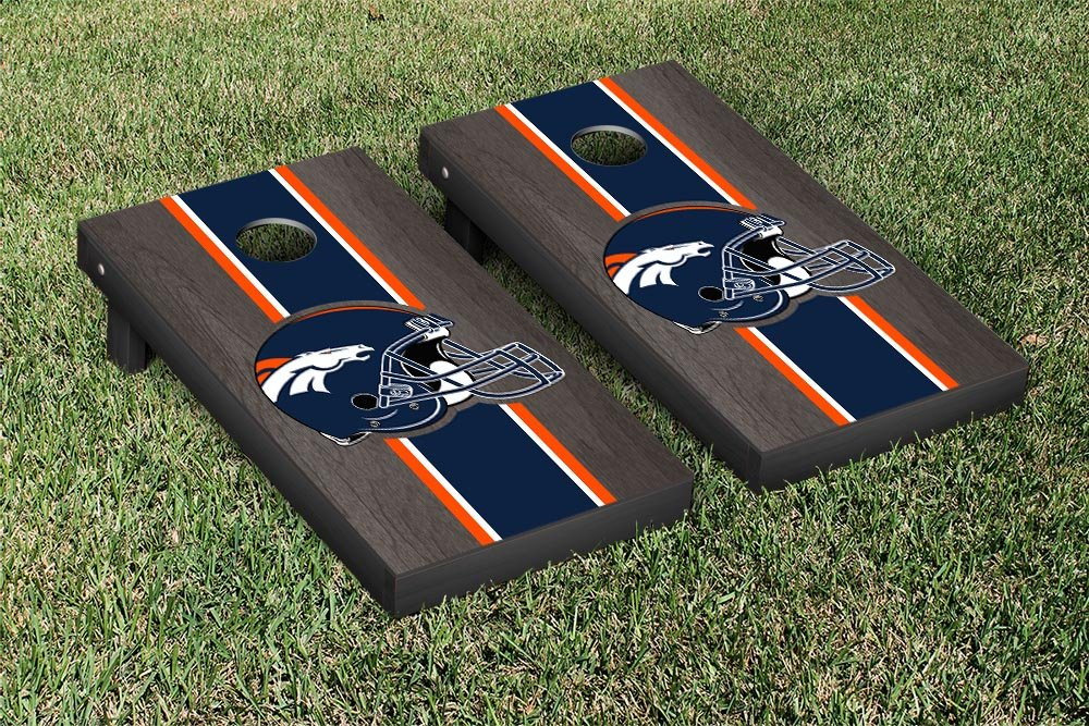 NFL Denver Broncos Onyx Stained Stripe Version Football Cornhole Game Set, 24'' x 48'', Multicolor