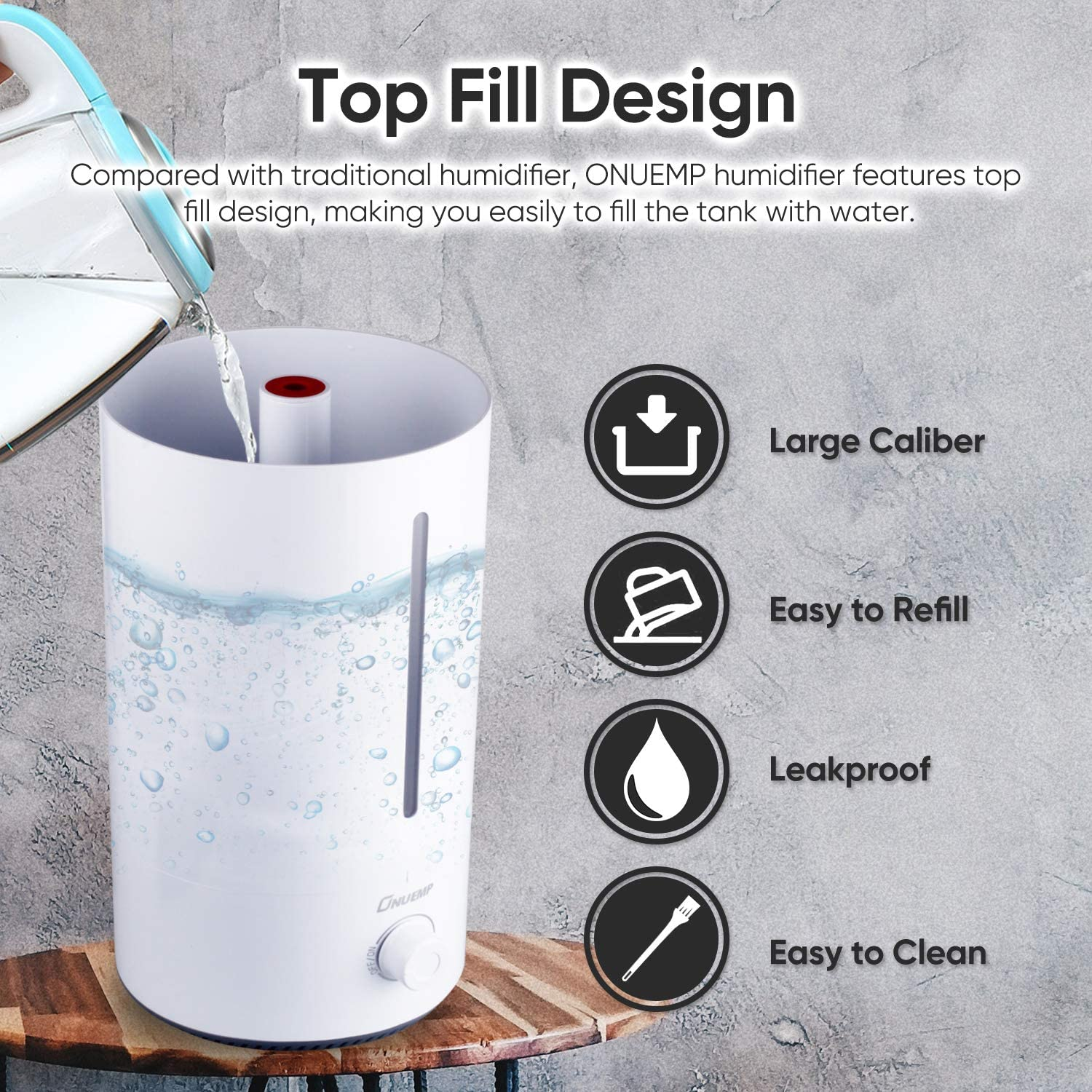Air Diffuser with Essential Oils Tray Waterless Auto-off Cool Mist Humidifiers for Bedroom Whisper-Quiet Operation,Easy to Clean 4L Top Fill Ultrasonic Humidifier for Baby Best Gift for Christmas