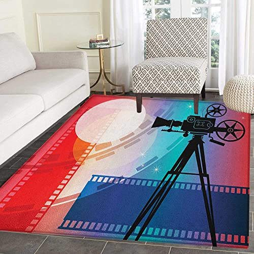 Cinema Area Rug Carpet Colorful Projector Silhouette with Movie Reel Vintage Design Entertainment Theme Living Dining Room Bedroom Hallway Office Carpet 5 x6 Multicolor