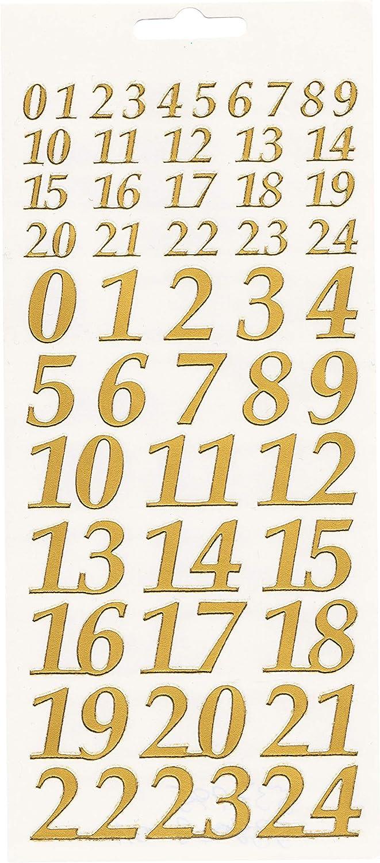 Reliefsticker Adventszahlen 1 und 2 cm selbstklebend gold oder silber Gold