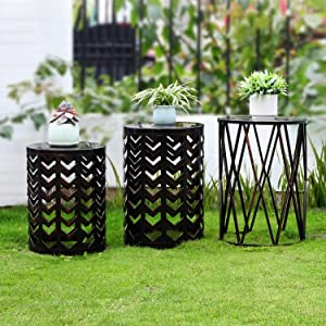 Set of 3 Metal Side End Tables Nightstand, Nesting Round Coffee Table for Indoor Outdoor, Heavy Duty Metal Plant Stand Living Room Garden Stool-Black with Bronze Prush(Ship from US)