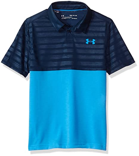 Under Armour Boys' Threadborne Blocked Polo,Academy/Mako Blue, Youth X-