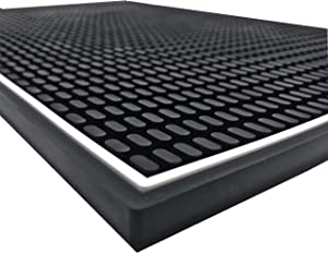 Highball & Chaser Premium Bar Mat, 18in x 12in. 1cm Thick Durable and Stylish Bar Mat for Spills. Non Slip, Non-Toxic, Service Mat For Coffee, Bars, Restaurants and Counter Top
