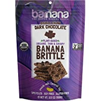Barnana Organic Crunchy Banana Cookie Brittle - Double Chunk Dark Chocolate, 3.5 Ounce - Healthy Vegan Dessert Snack - Made with Sustainable, Eco Friendly Upcycled Bananas