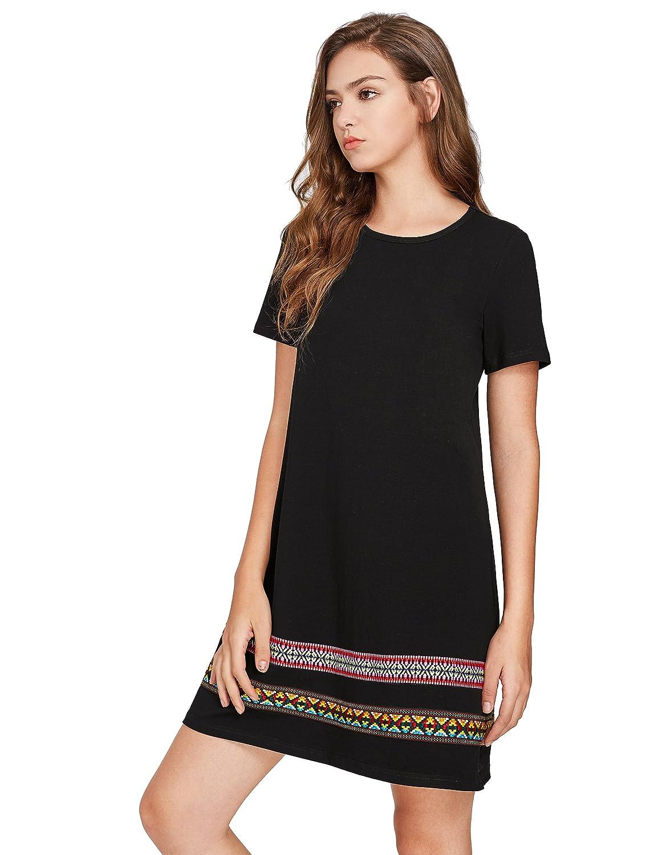 cb33cd55b854d Romwe Women's Comfy Swing Tunic Short Sleeve Boho Embroidered Hem Loose  Casual T-Shirt Dress at Amazon Women's Clothing store: