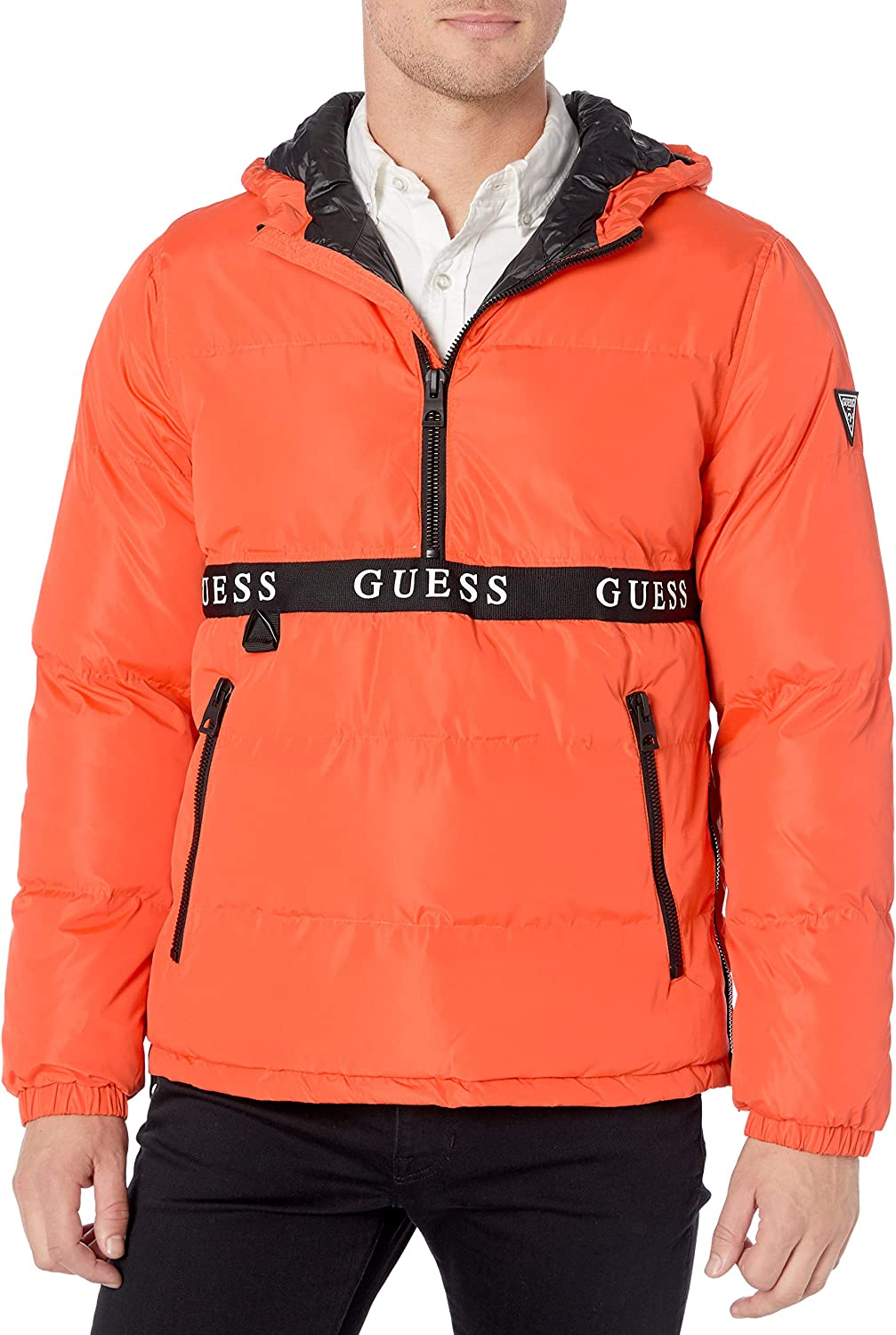 GUESS Mens Wind /& Water Resistant Hooded Pullover Puffer Jacket