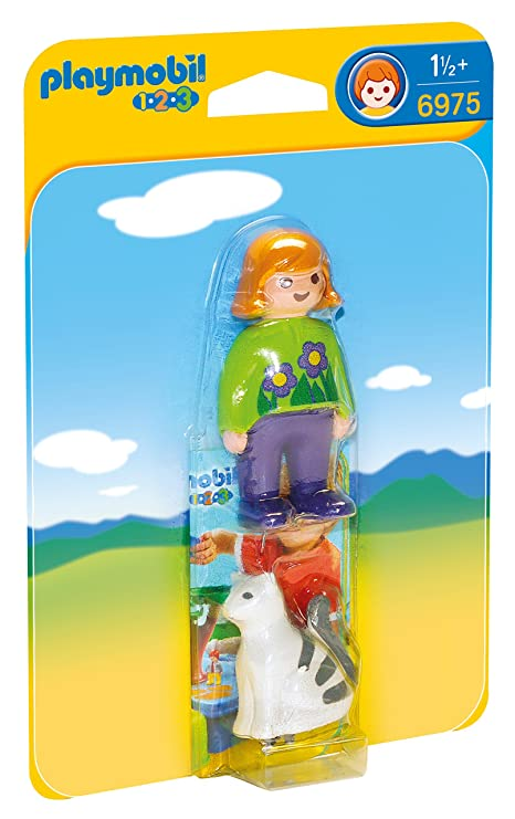 Playmobil 1.2.3 Woman with Cat Figura con Accesorios 6975
