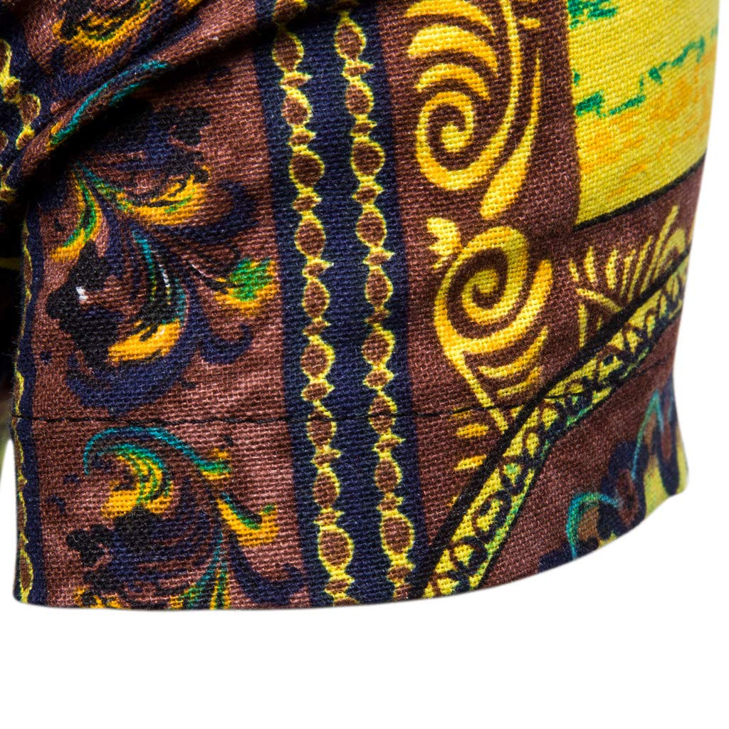 Mens New Pattern Casual Fashion Printing Lapel Printing Short Sleeve Shirt