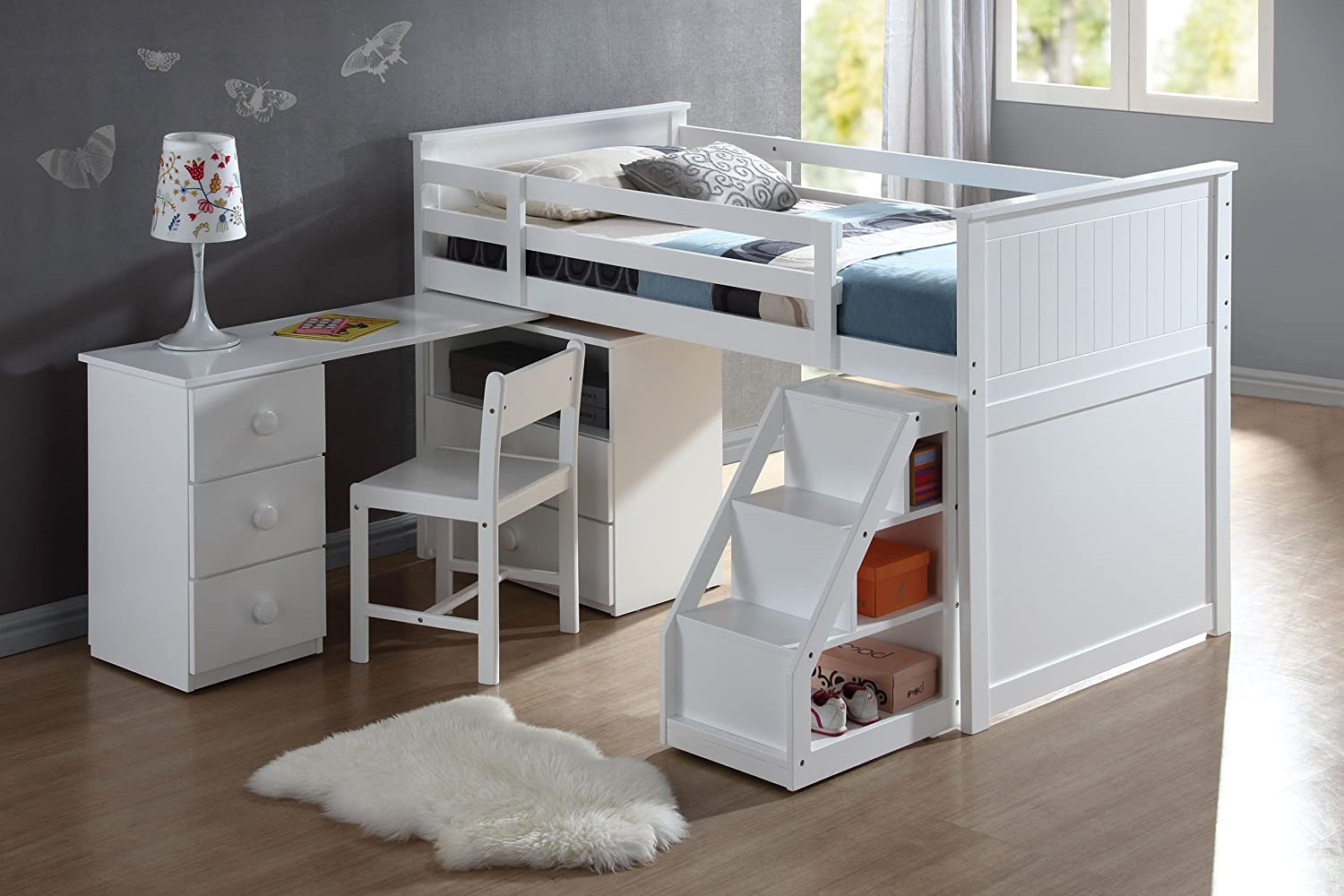 ACME Wyatt White Loft Bed with Chest and Swivel Desk