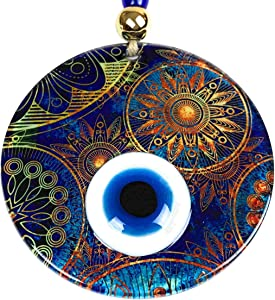 BCS Amazing Sun Evil Eye Decor Home Wall Hanging Glass Beads Multicolor Handmade Turkish Nazar Amulet 4.7