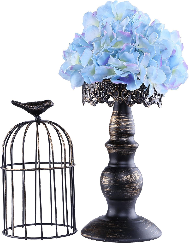 Berry President(TM Handmade Metal Candleholder Vintage Home Decorative Table Floor Tall Birdcage Candle Holder Centerpiece for Wedding (Black 14.6Inch)