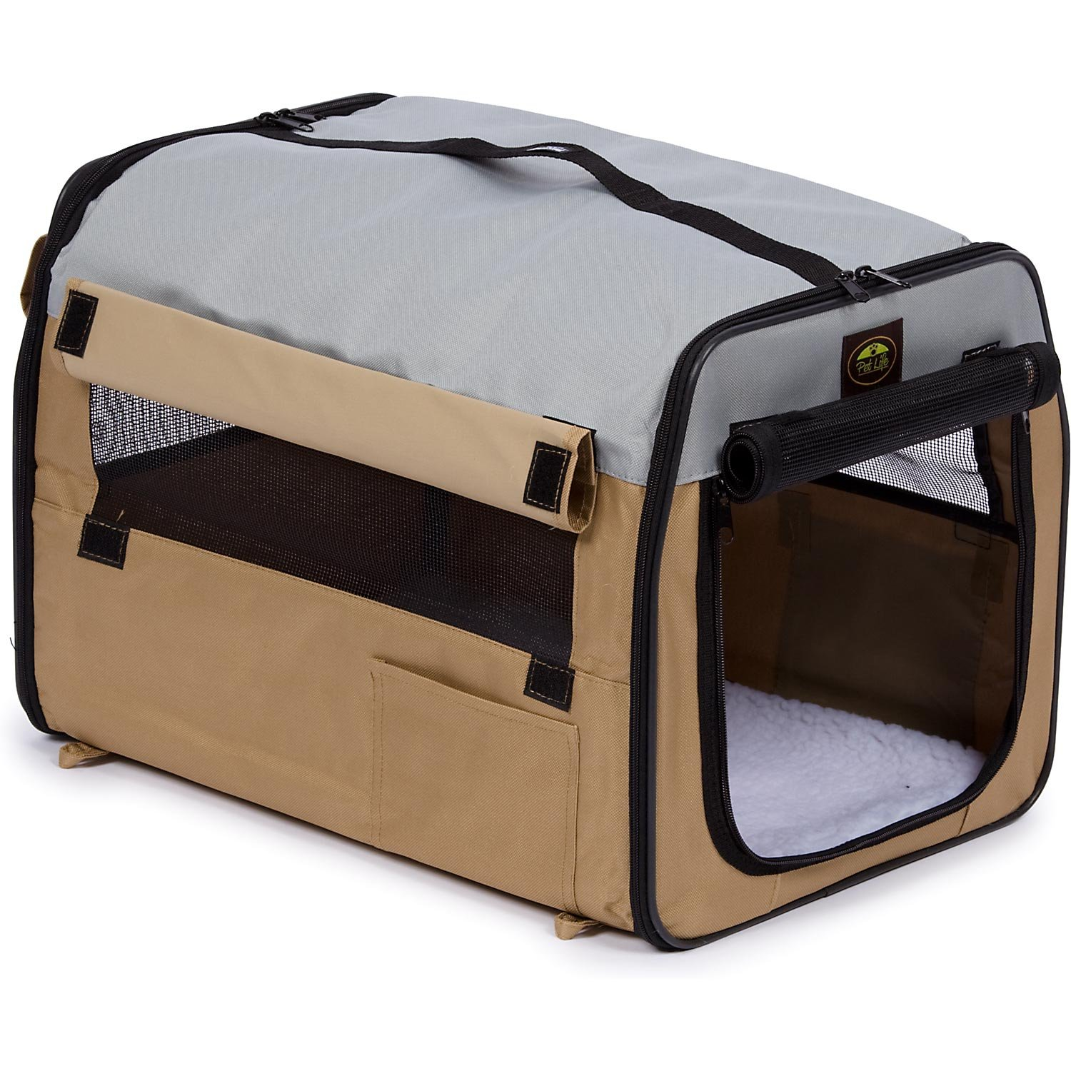 PET LIFE 'Easy Folding' Zippered Folding Collapsible Wire Framed Lightweight Pet Dog Crate Carrier, X-Large, Khaki by Pet Life