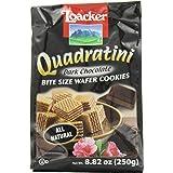 Loacker Quadratini Premium Italian Dark Chocolate Wafer Cookies, 250g/8.82oz, Dark Chocolate, 250 Grams
