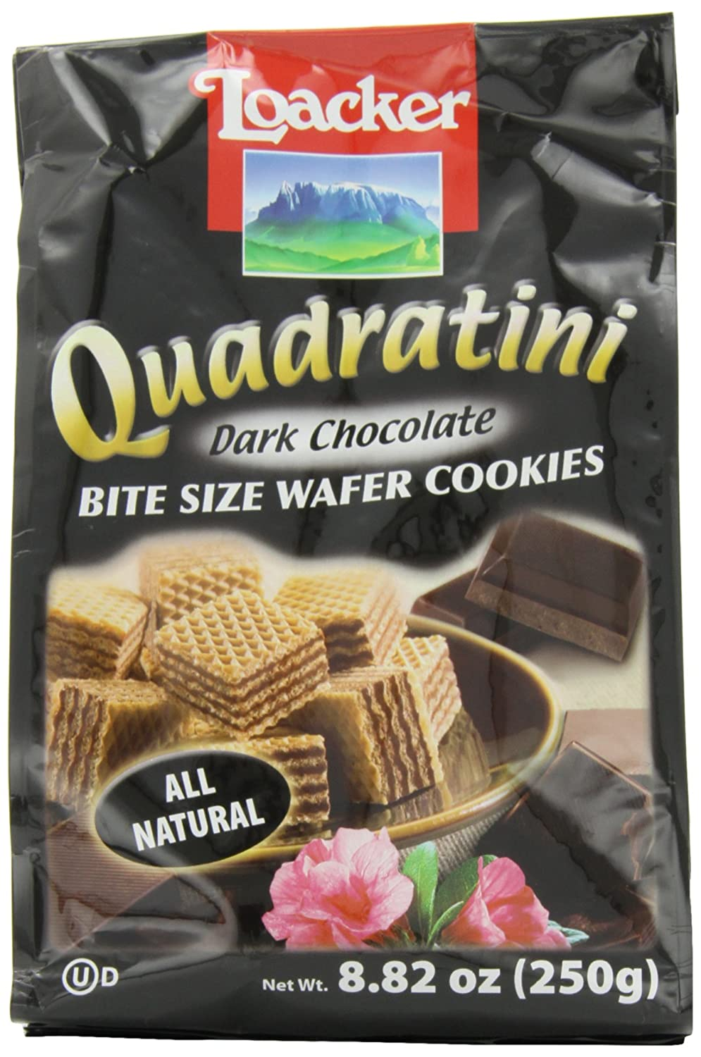 Loacker Quadratini, Bite Size Wafer Cookies, Dark Chocolate, 8.82 ...