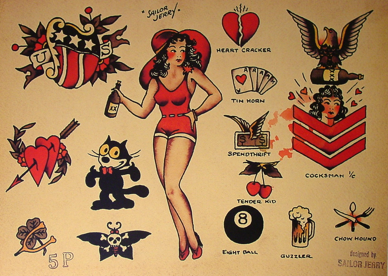 sailor jerry tattoo flash 10 sheets butterflies devils pin up