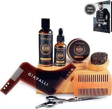 Kit Barba Cuidado por Giavalli [NUEVO] - Aceite para la barba (30 ml), bálsamo (60 g), brocha,