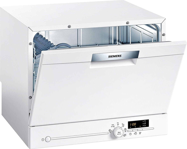 Siemens SK26E222EU iQ300 - Lavavajillas compacto independiente, A+, 174 kWh/año, 2240 L/año, varioSpeed, cristal 40°, programa aquaStop, color blanco