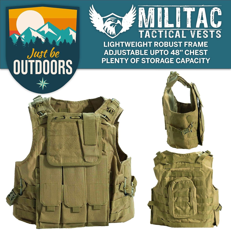 Militac, Delta, gilet tattico, ideale per softair e paintball, Black Just Be Outdoors