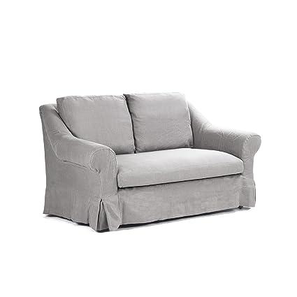Awe Inspiring Amazon Com Zentique Albine Settee Grey Linen Kitchen Dining Evergreenethics Interior Chair Design Evergreenethicsorg