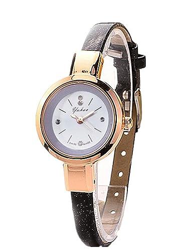 Relojes Mujer,Longra Elegante Reloj de Pulsera Reloj Redondo Cuero Imitación (21CM, Negro