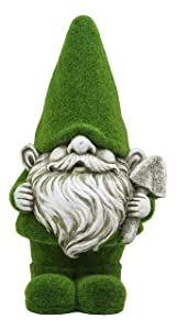 Ebros Large Whimsical Green Thumb Gnome with Shovel Garden Statue in Flocked Artificial Moss Finish Resin Sculpture Guest Greeter Home Decor Outdoors Patio Flower Bed Gnomes Magic Mystic Figurine