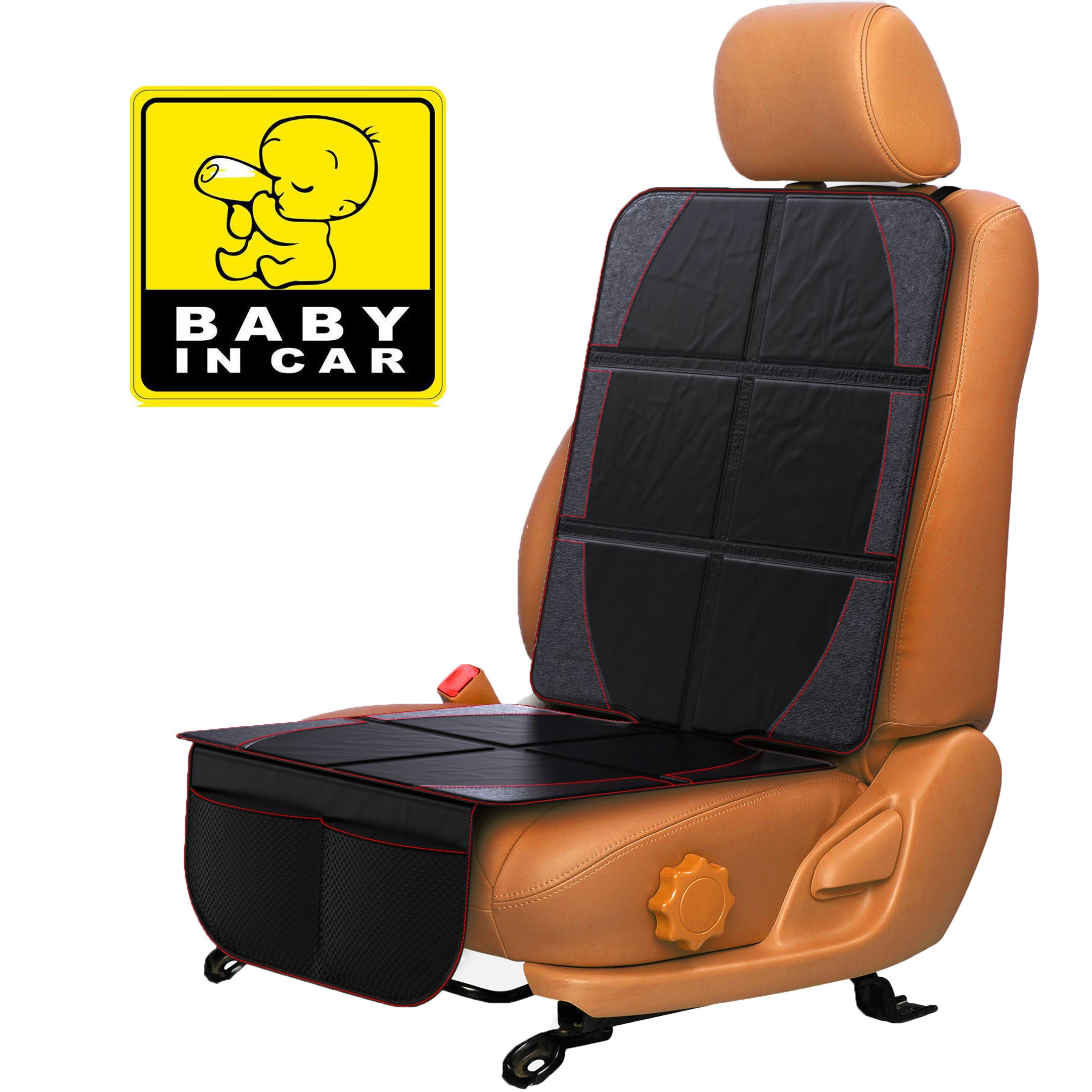 Car Seat Protector for Baby & Toddler by FORTEM | 100% Waterproof Thick & Durable Quality Backseat Cover | Protection Against Damage to Leather & Cloth Seats | Bonus Baby On Board Sticker