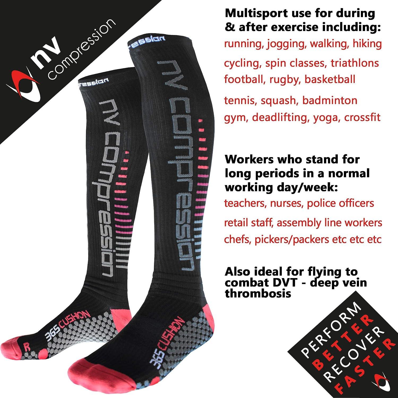NV Compression 365 Cushion Chaussettes de Compression Crossfit Black Compression Sports Socks Noir Cycling Triathlon for Running Gym