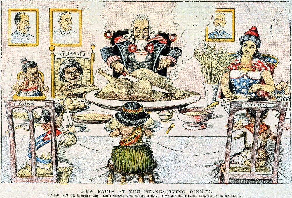 24 x 36 Thanksgiving Cartoon 1898 Nnew Faces At The Thanksgiving Dinner American Cartoon 1898 On The US Territorial Acquisitions Following The Conclusion Of The Spanish-American War Poster Print by