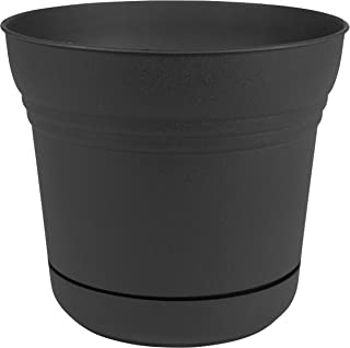 "product image for Bloem Saturn Planter with Saucer, 14"", Black (SP1400)"