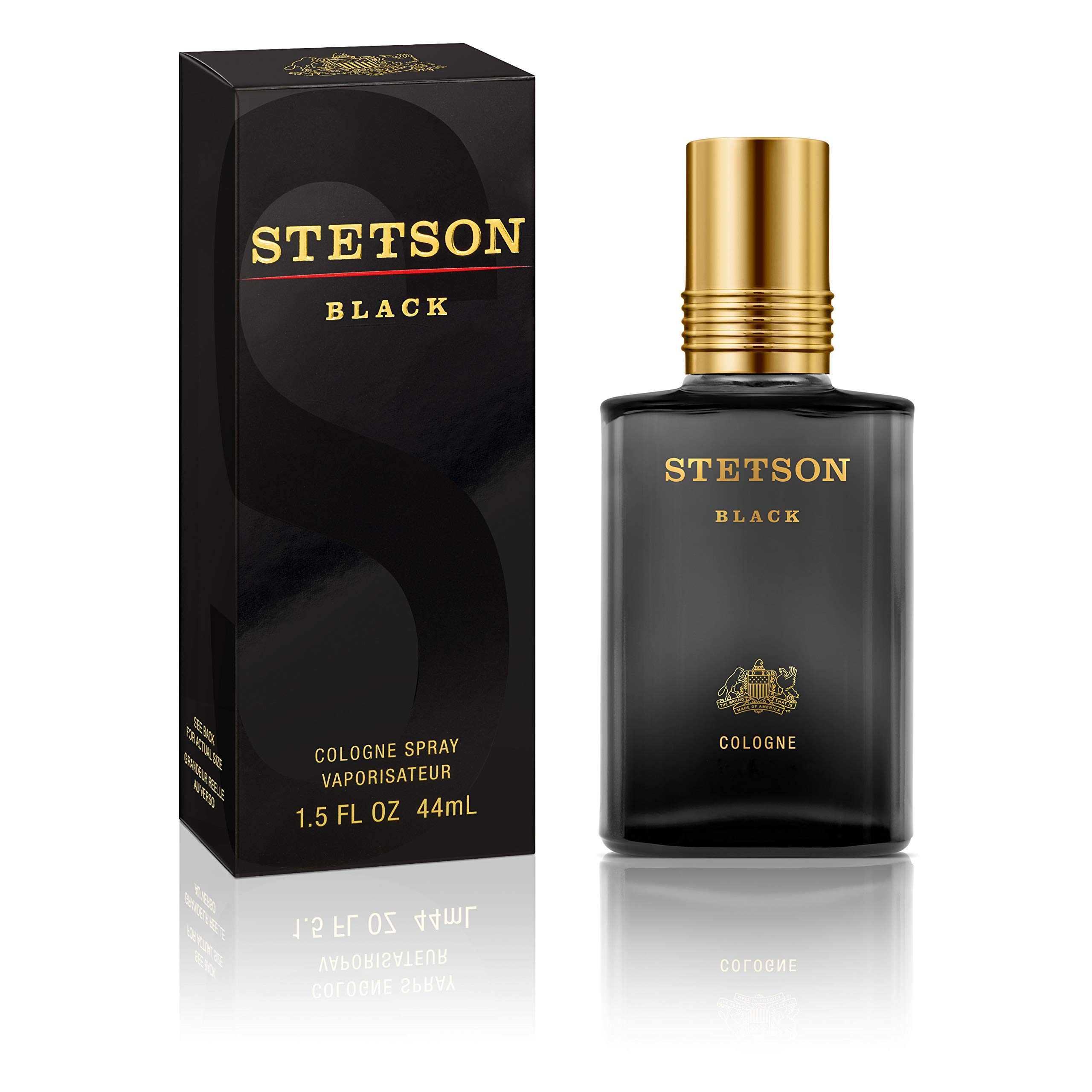 Stetson Black Cologne Spray for Men by Stetson 1.5 Fluid Ounce Spray Bottle  A Uniquely Bold Blend of Warm Spices and Fresh Woods