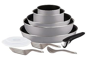 b9198d87d5fde Tefal L2149902 Set de poêles et casseroles - Ingenio 5 Essential Gris  Scottish 11 Pièces -