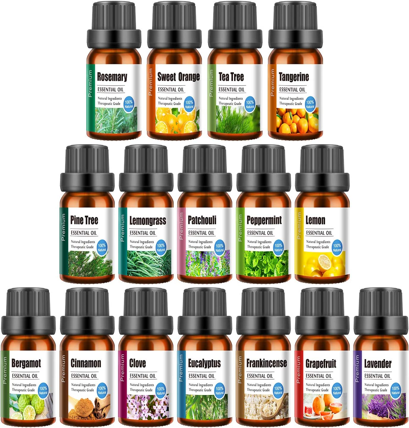 Top 16 Aromatherapy Essential Oil Set,100% Pure Natural Essential Oils Sets Perfect for Diffuser, Home Fragrance, Include Lavender, Rosemary, Peppermint, Lemongrass,Tea Tree Oils and 11 More, 10 ML