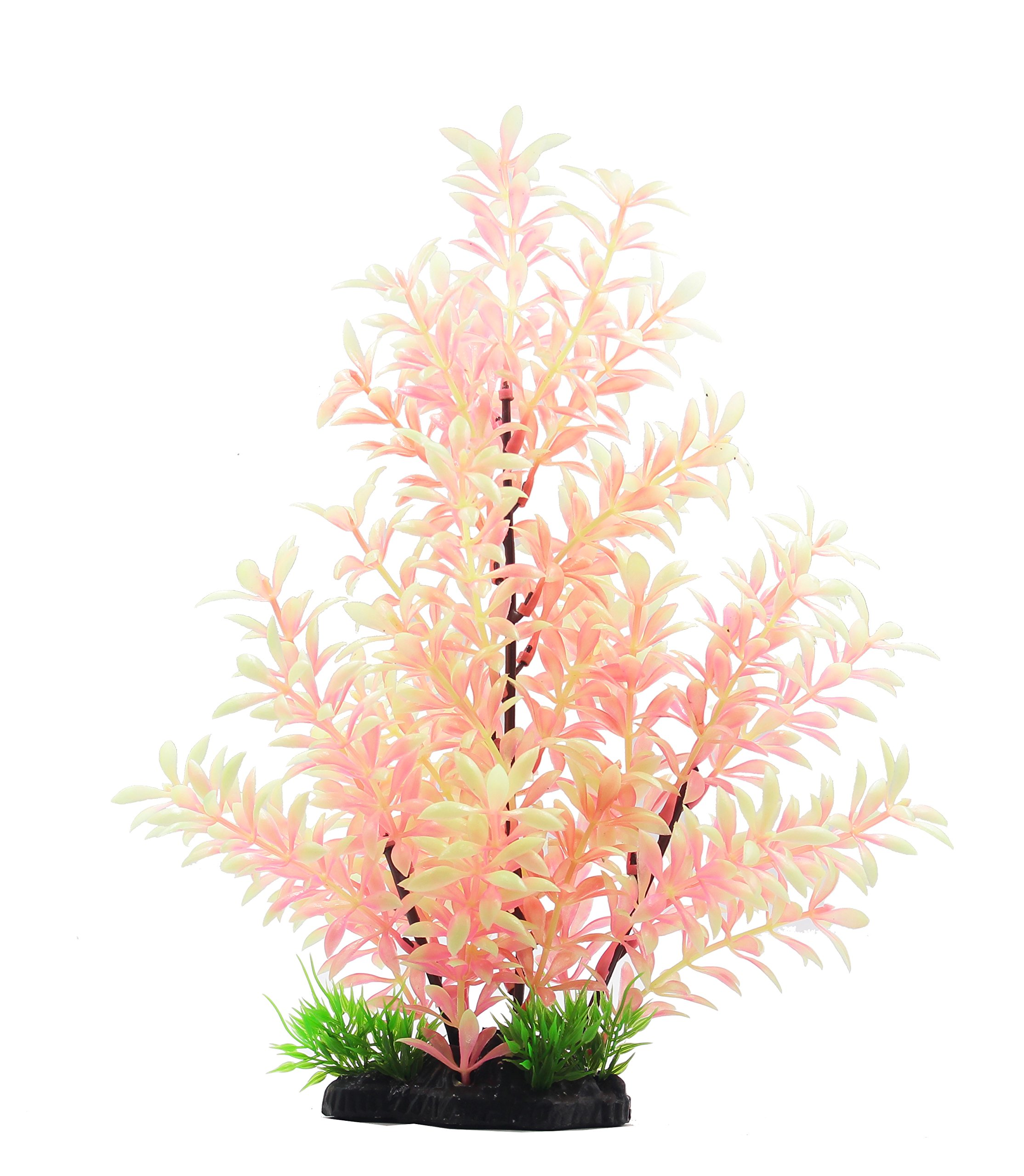 ZAZALUM Luminous Aquarium Decor Ornaments, Aquarium Artificial Plastic Plants For Aquascaping (Green-12in)