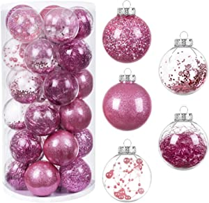 "HBlife 30ct Mini Christmas Ball Ornaments Shatterproof Clear Plastic Baubles for Xmas Tree, Christmas Decor Perfect Hanging Ball, 2.36"" Pink"