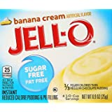JELL-O SUGAR FREE BANANA CREAM REDUCED CALORIE PUDDING AND PIE FILLING 1 x 25g BOX FAT FREE JELLO