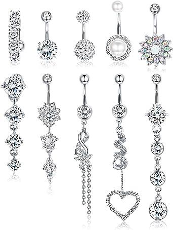 Thunaraz 10Pcs Stainless Steel Belly Button Rings for Women Body Jewelry Set Dangle Navel Rings 14G /…