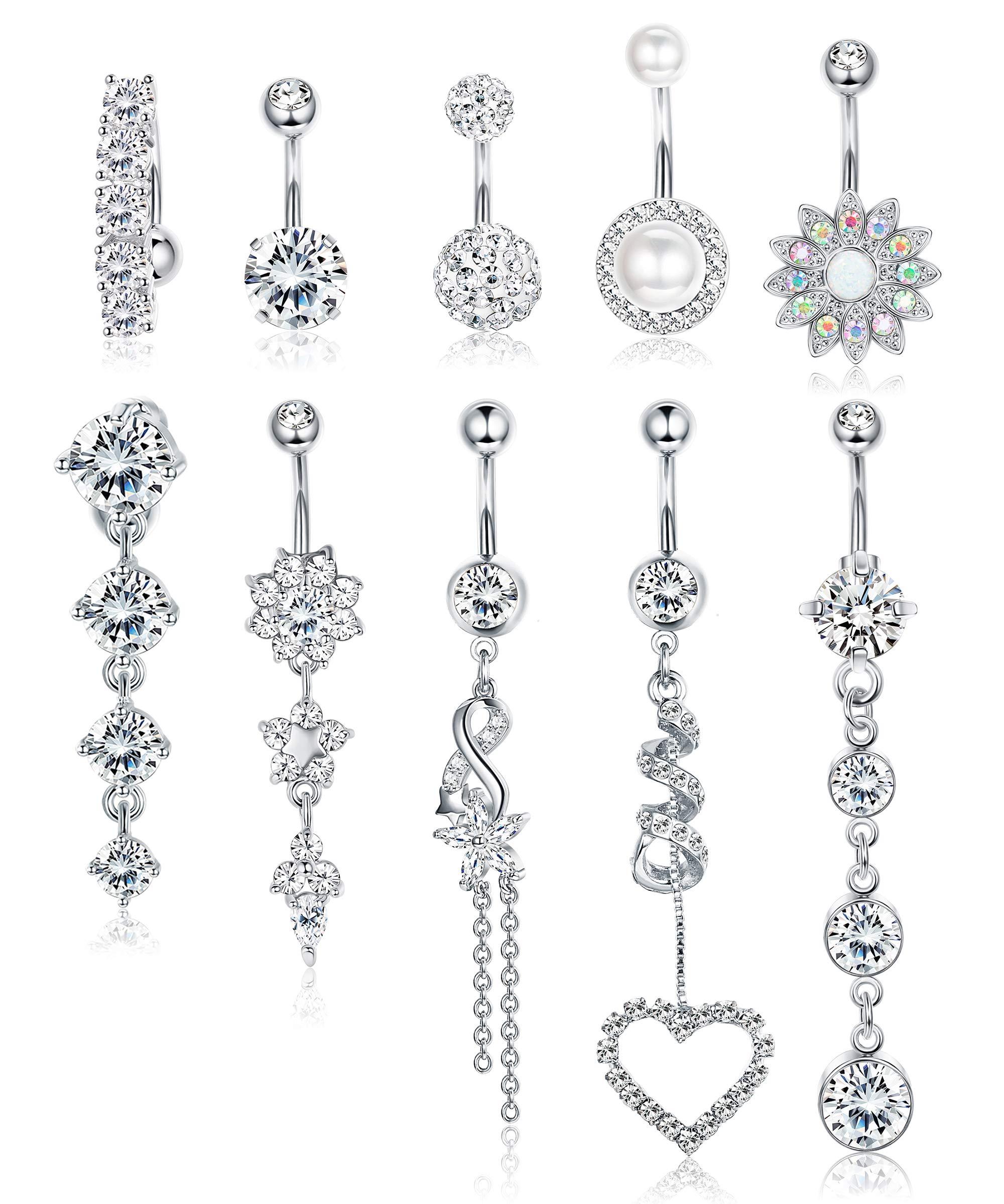 Udalyn 10 PCS Belly Button Rings For Women Girls Navel Rings Surgical Steel 14G Body Jewelry for Women Piercings Belly by Udalyn