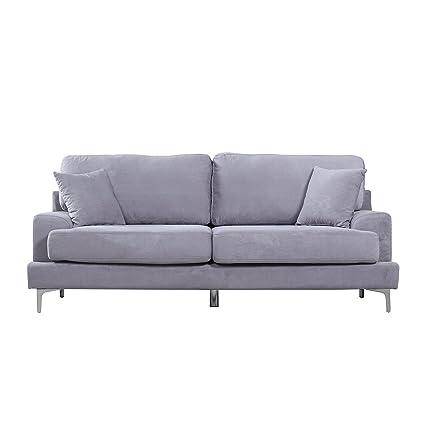 Ultra Modern Plush Velvet Living Room Sofa (Grey)