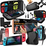 Switch Accessories Bundle - Orzly Essentials Pack for Nintendo switch Case & Screen Protector, Grip Case, Games Holder, Headp