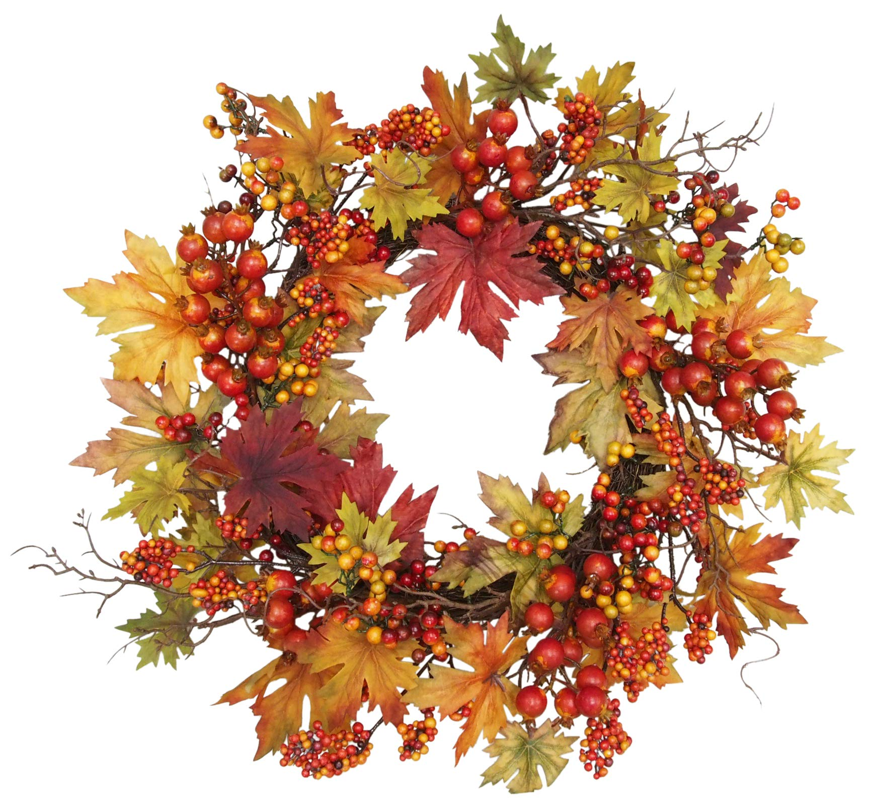 Ten Waterloo 24 Inch Fall and Thanksgiving Wreath - Artificial Maple Leaf Wreath with Berries on Twig Base by Ten Waterloo