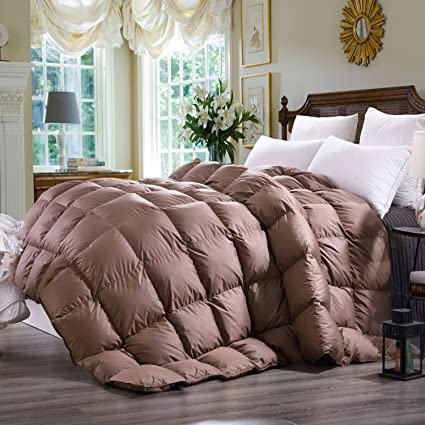 C&W Luxurious Goose Down Comforter King Size Duvet Insert 800TC, 65 Oz Fill Weight ,All Season Lightweight Down Comforter (King Size,Mocha)