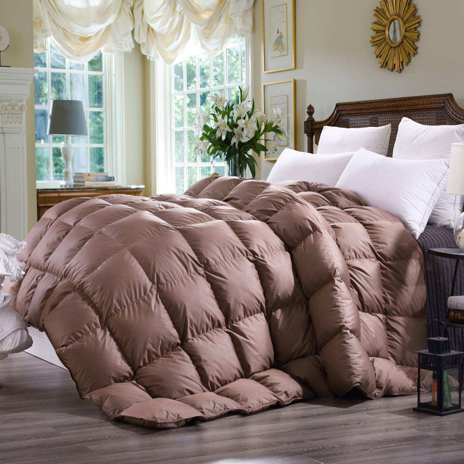 C&W Luxurious Goose Down Comforter Duvet Insert All Seasons Lightweight Solid Mocha Hypo-allergenic 600+ Fill Power (Queen,Mocha)