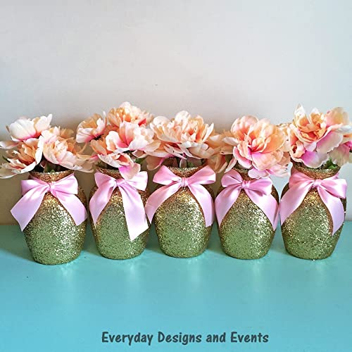 Amazon 8 gold glitter vases with light pink ribbons wedding 8 gold glitter vases with light pink ribbons wedding decorations gold wedding party decorations birthday decor junglespirit Image collections