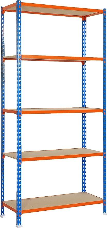 SimonRack SI443 Kit Estantería con 5 Estantes, Azul, naranja y madera, 5/400 mm