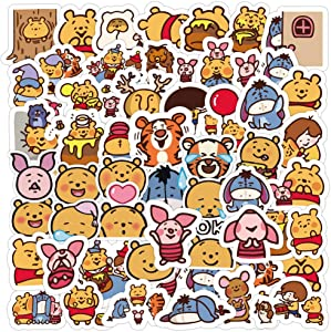 Cute Funny Graffiti Vinyl Stickers for Pooh Bear,50 Pcs Anime Waterproof Bear Stickers for WaterBottles Laptop Computer Flasks Phone Bike,Funny Stickers Pack for Kids Boys Girls Teens Toddlers.
