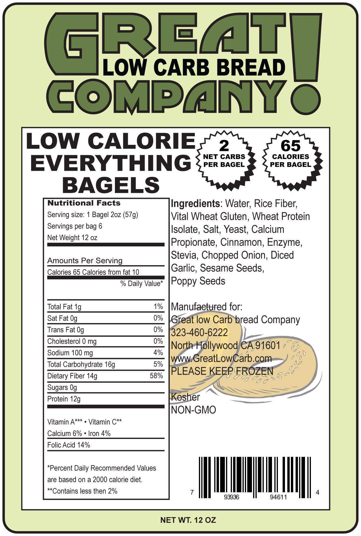 Great Low Carb Everything Bagels 65 Calorie Version 2 Bags