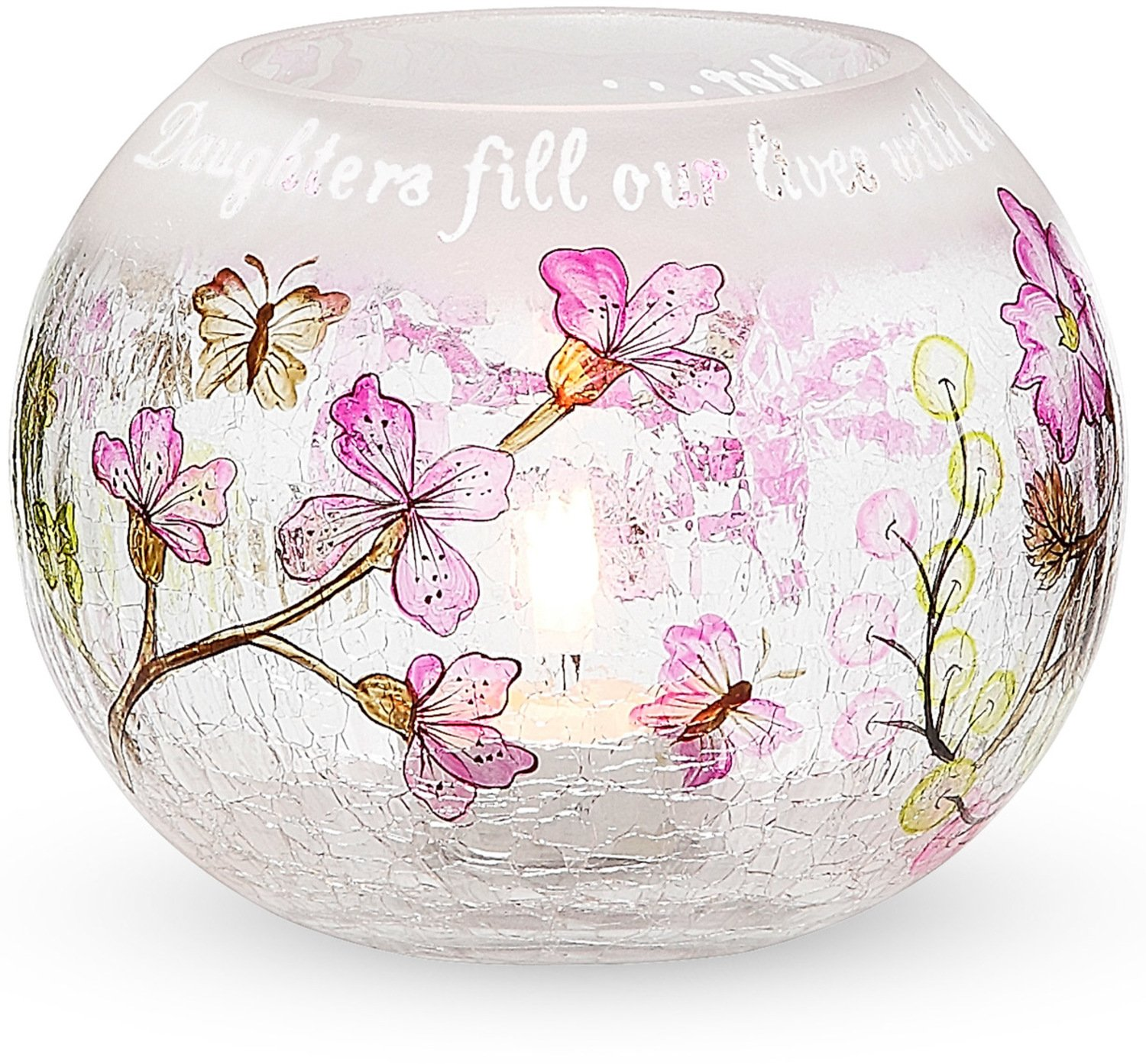 Mark My Words 5-Inch Round Hurricane Crackled Glass Candle Holder, Daughter Sentiment Pavilion Gift Company 66257